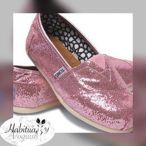 TOMS Pink Sequins sz 8.5